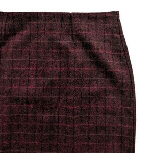 Woolrich Burgundy Plaid Wool Blend Pencil Skirt 14